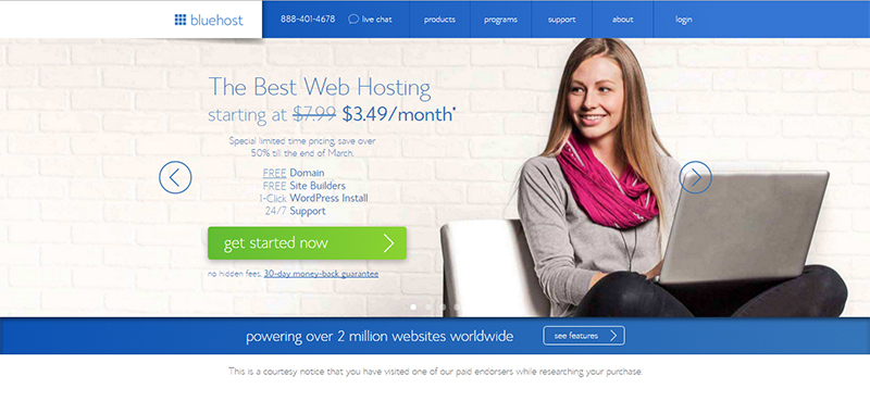 how to start a lifestyle blog bluehost homepage